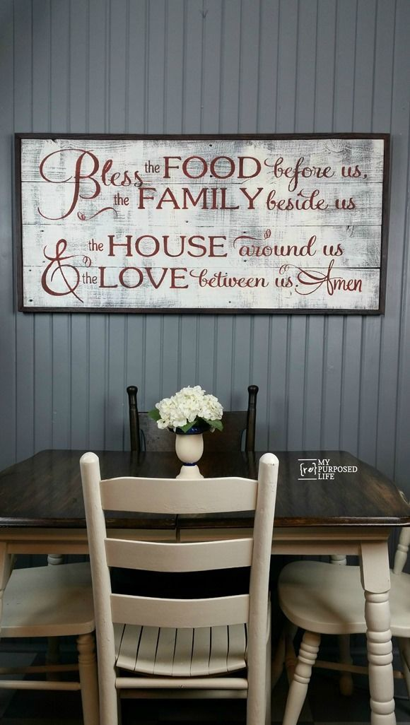 84 best farmhouse signs plaques images on pinterest for Country dining room wall art