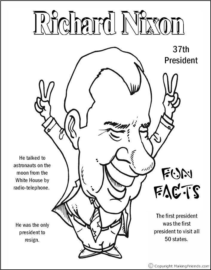 richard nixon coloring page
