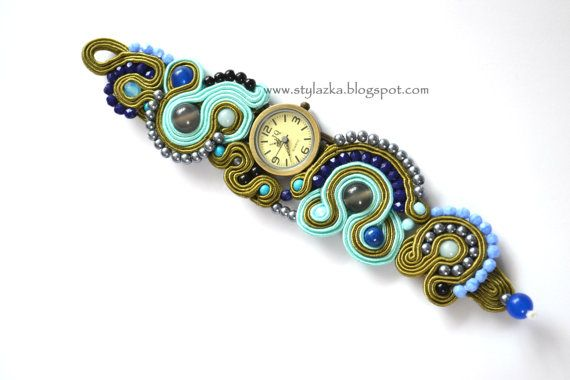 Soutache watch with jades blue