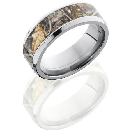 8mm Realtree Titanium Camo Ring with Beveled Edges