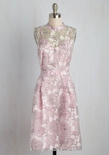 Nurture your ladylike side by styling this gossamer dress for a fancy occasion! Laid over the loveliest pink lining, a sheer, burnout overlay veils your look with a white scrim upon which black-outlined flowers blossom. Topped off with a high neckline and waistline pleats, this pretty ModCloth exclusive is the epitome of feminine!