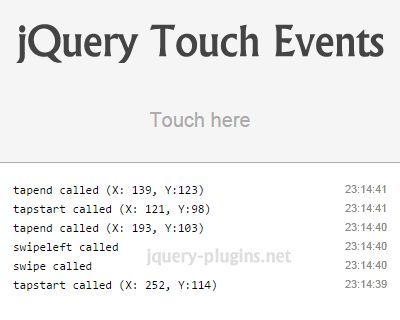 jQuery Touch Events