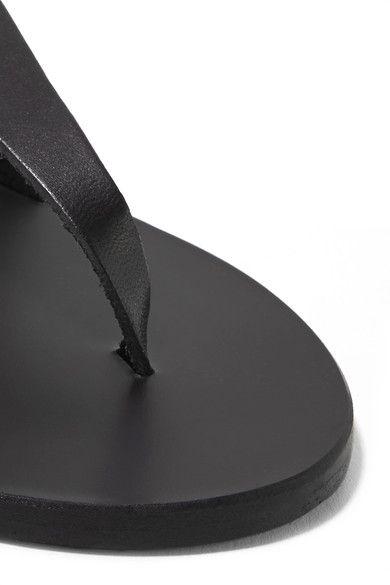 Ancient Greek Sandals - Lemlem Estia Tasseled Leather Sandals - Black - IT35