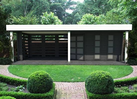 Blokhut met overkapping blokhut blokhutten blokhut met veranda tuin pinterest - Modern prieel aluminium ...