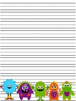 Set of 26 Monster Themed Writing Paper!