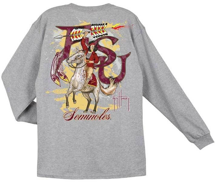 Guy Harvey Shirts - Guy Harvey Florida State University Seminoles Back-Print Pocketless Long sleeve Men's Tee in Athletic Heather, $27.95 (http://www.guyharveyshirts.com/guy-harvey-florida-state-university-seminoles-back-print-pocketless-long-sleeve-mens-tee-in-athletic-heather/)