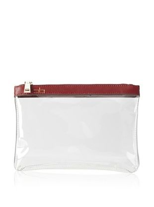 53% OFF COURAGE. b Women's Moorea-To-Go Zip Case, Clear/Burgundy