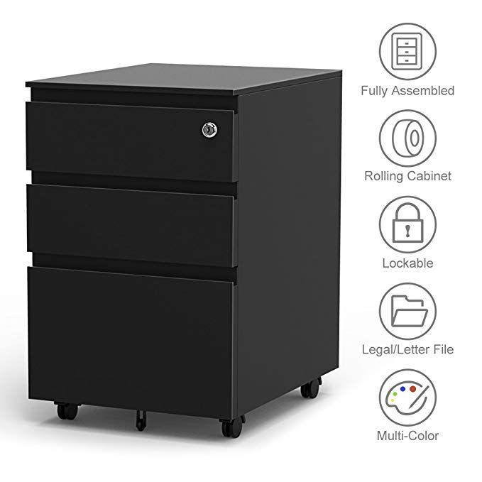 3 Drawer Filling Cabinet Metal Vertical File Hanging Frame Legal Letter Install Free Anti Tilt Design Lockable System Office Rolling