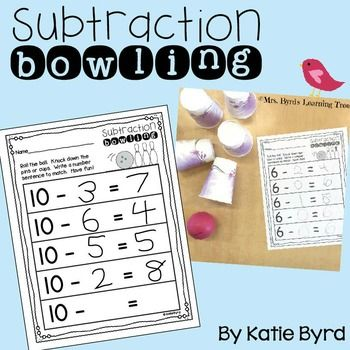 Looking for an active way for your students to practice subtraction in your kindergarten or first grade classroom? Subtraction bowling is fun for kids and EASY for you! You will need a ball and some plastic cups to do this in your classroom. You can also use a toy bowling set if you have one.