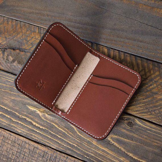 Burgundy Leather Minimalist Wallet Leather Card Holder
