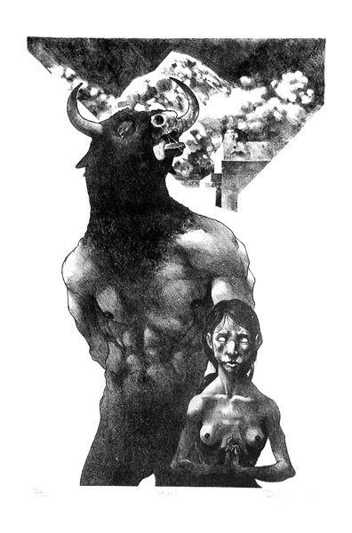 "Rene Almanza ""Asterion""-Lithographie 2004"