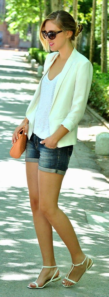 Gorgeous denim shorts with top white tee-shirts and cute blazer and coral leather hand bag and stripes shoes and cute goggles the best stree...