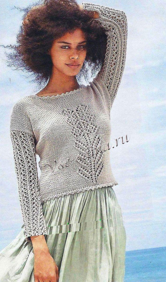 Фото серого пуловера с ажурным мотивом
