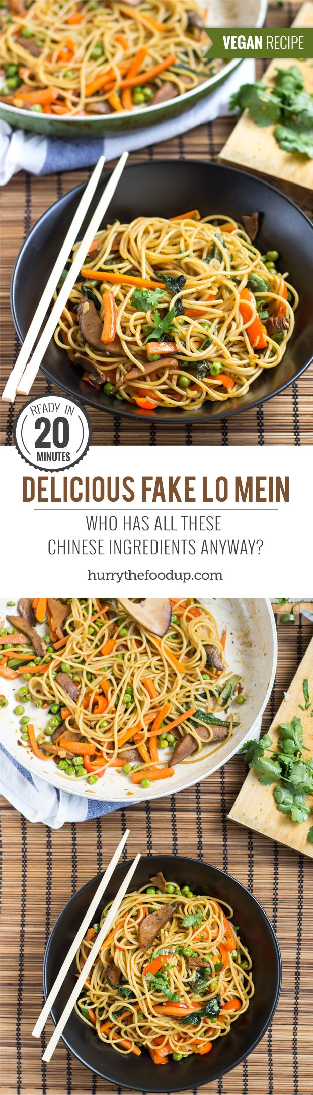 Delicious Fake Lo Mein. Ready in 20 minutes | #dinner #vegan | hurrythefoodup.com