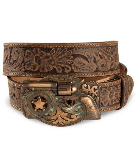 Tony Lama Trigger Happy Buckle Leather Belt - Reg & Big