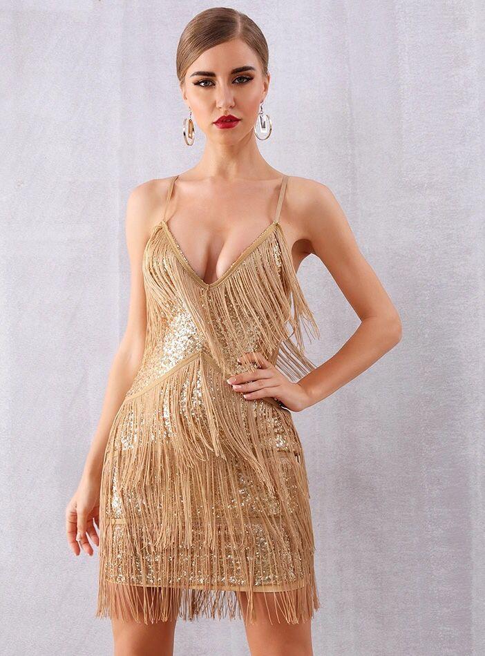 c0253c8ba91ad Gold Mini Dress Tassel Party Dress in 2019 | Fun outfits | Dresses ...