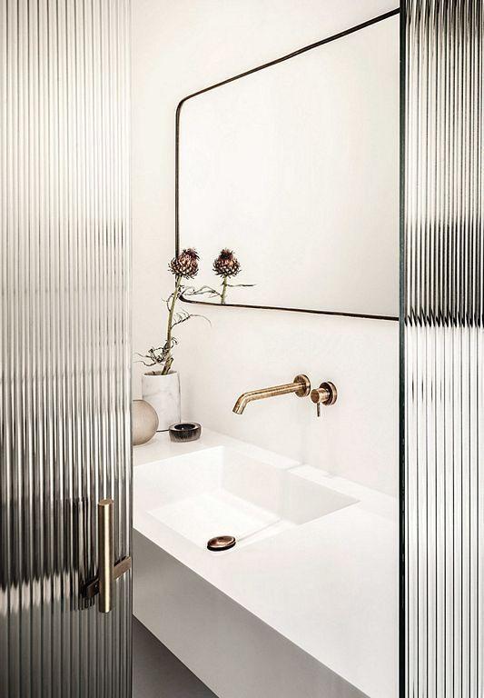 reeded glass door // black & white // bathroom – #…