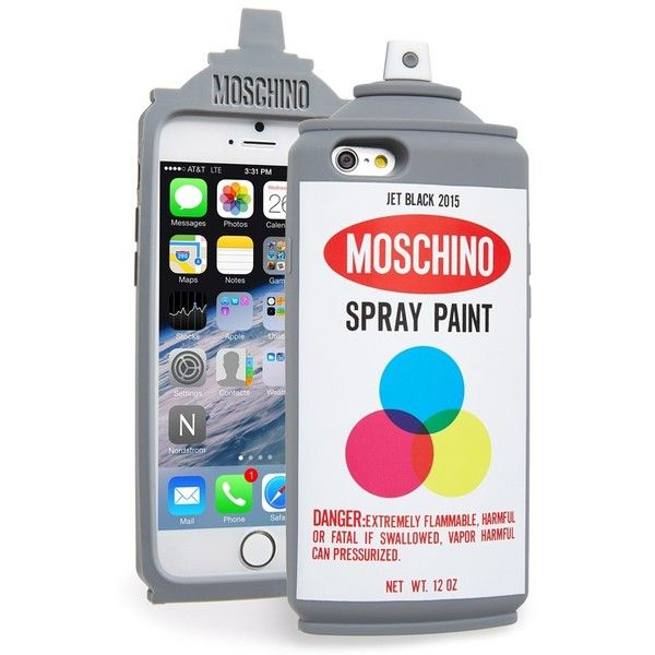 Moschino Spray Paint Can iPhone 6 Case ($115) ❤ liked on Polyvore featuring accessories, tech accessories, fantasy print white, iphone cover case, moschino, white iphone case, iphone cases and apple iphone cases