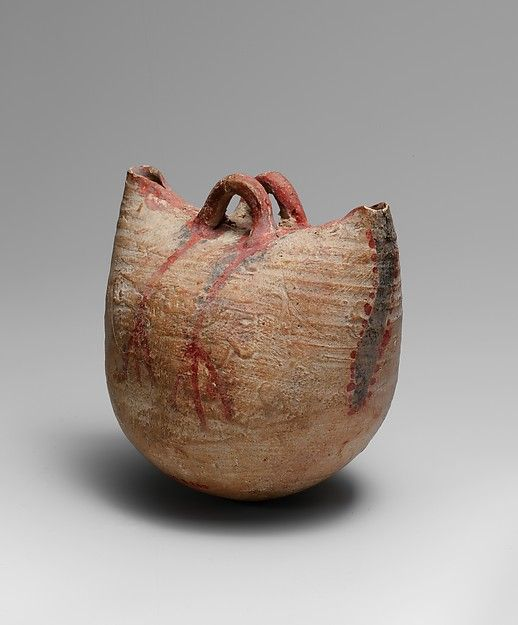 Basket Vessel, Egypt New Kingdom Dynasty 18 ca. 1550–1295 B.C, made with clay, buff pottery