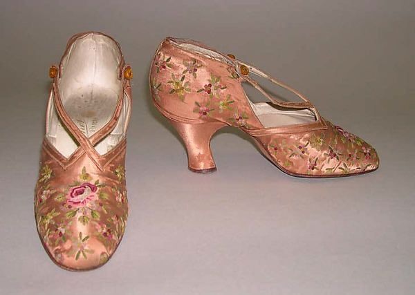 Slippers Designer: F. Pinet, Paris (French, founded 1855) Date: 1910 Culture: French Medium: silk Dimensions: Length: 9 1/2 in. (24.1 cm) Credit Line: Gift of Miss Susan W. Street, 1952