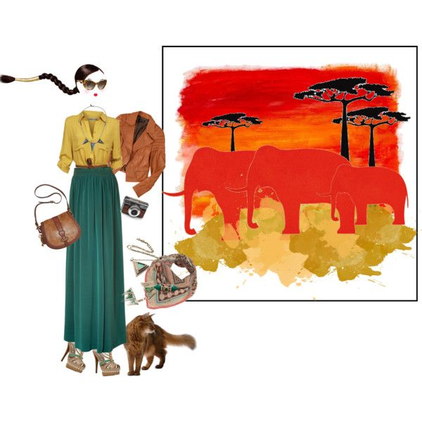i dreamed of africa by drusilla90 on Polyvore featuring moda, Baukjen, Vanessa Bruno, Le Silla, FOSSIL, Pamela Love, Miss Selfridge, Elizabeth and James, Paperself and Color My Life