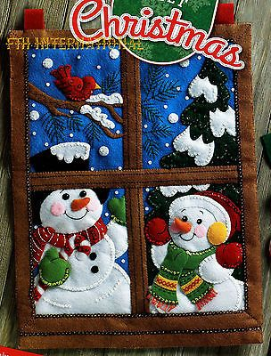 Bucilla Winter Window ~ Felt Christmas Wall Hanging Kit #86732 Frosty Snow Scene