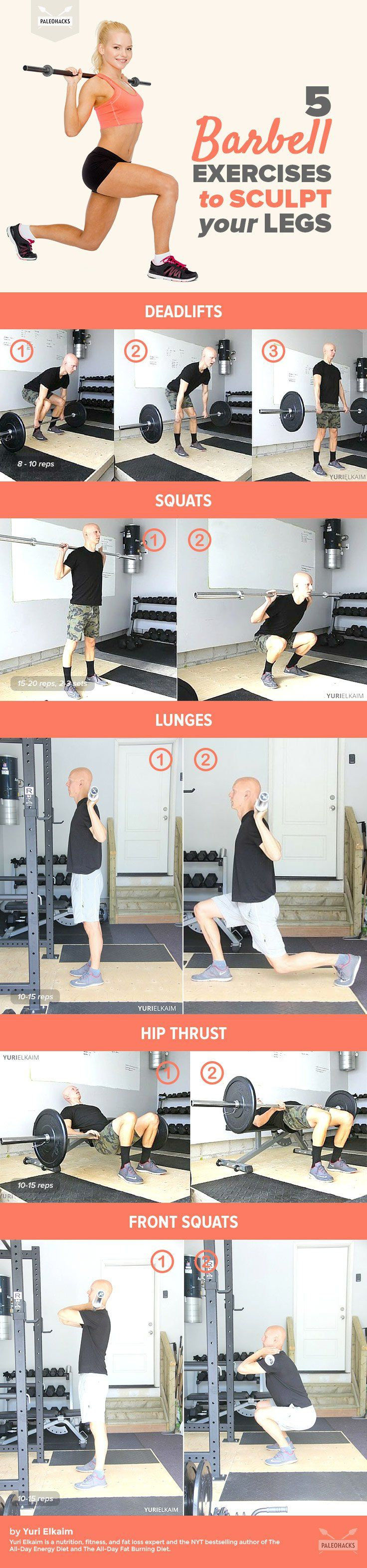 Take your workout to the next level with these barbell exercises to tone, sculpt and strengthen your legs. For the full workout regime, visit us here: http://paleo.co/barbellexercises