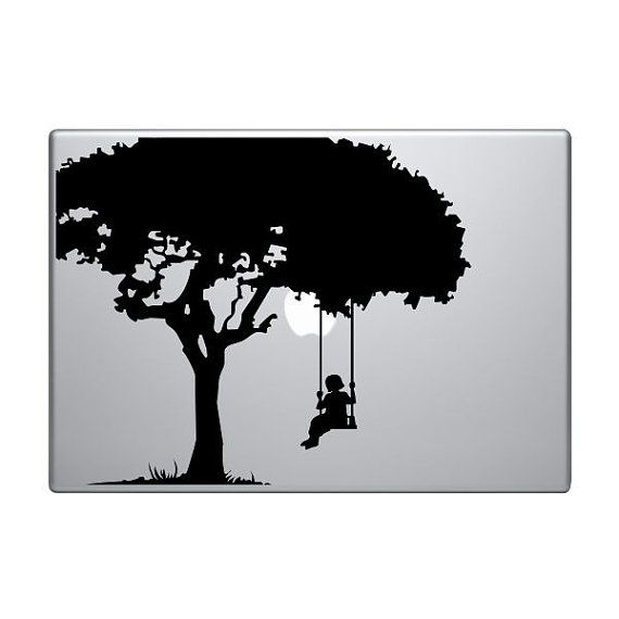 Girl on swing vinyl decal sticker to fit macbook pro and air custom sizes available die cut tree child kid
