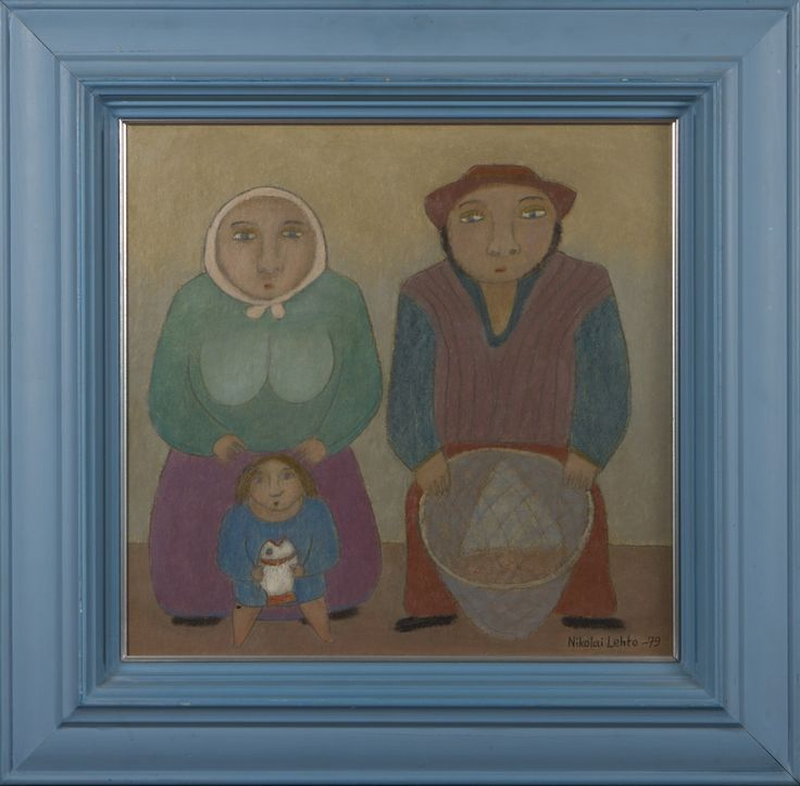 Nikolai Lehto: Perhe, 1979, öljy, 42x40 cm - Hagelstam A130