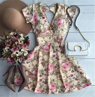 2016 primavera e verão novo estilo moda Vestido De Festa flor imprimir Casual Vestido vestidos De manga curta para as mulheres sem encosto com decote em V