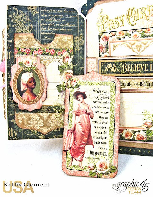 Portrait of a Lady Fan Fare Fun Fold Card Tutorial Portrait of a A Lady by Kathy Clement Product by Graphic 45