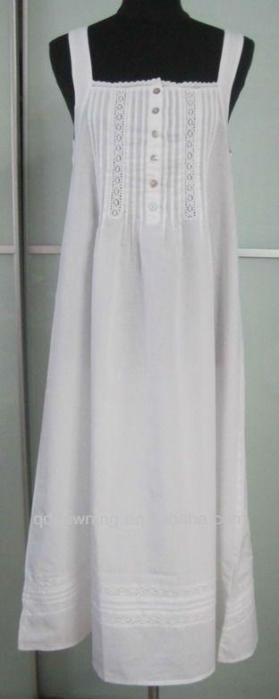white cotton nightdress                                                                                                                                                      Más
