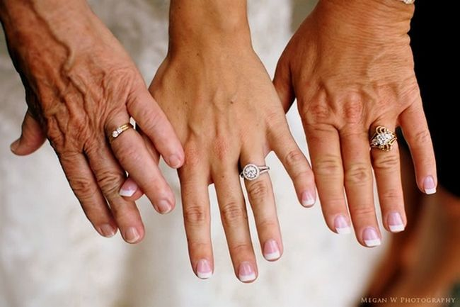 Take a ring photo of three generations: you, your mom and grandmother or another woman that has played an important role in your life. Such a cool idea!