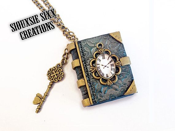 Victorian Steampunk Mini Book Clock Pendant made of Polymer Clay