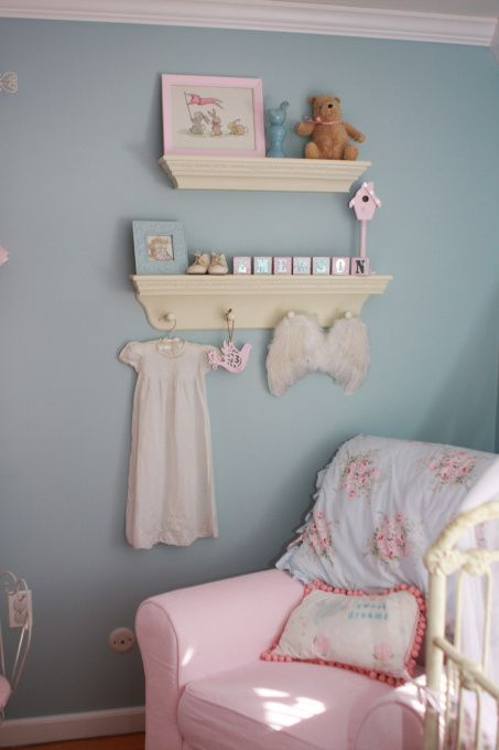 Emersons Princess Paradise, NEW PICTURES!! she is now almost 2!!  This is the room we created for our baby girl coming in one week! She is the first girl after three boys, so needless to say I had a blast doing her room!, shelves from pottery barn kids with little vintage dress and angel wings...    , Nurseries Design
