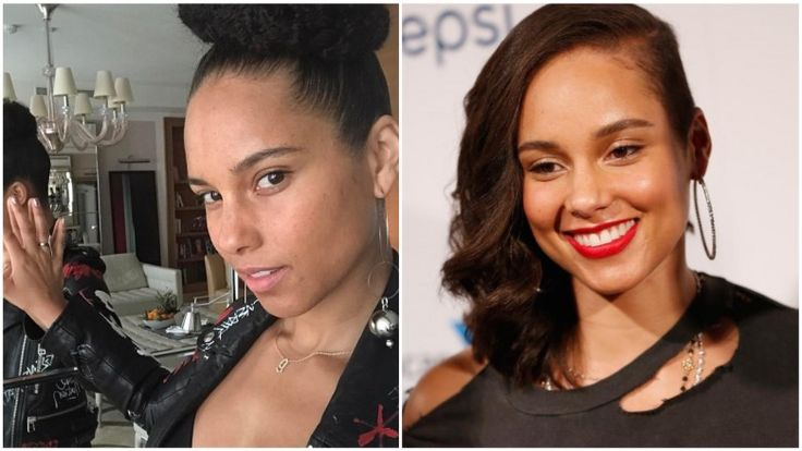 celebrities without makeup Alicia Keys It can be inspiring to see your favorite celebrities all glammed up, but it sure is fun to see what they look like 100% au natural. Here's a list of stars who