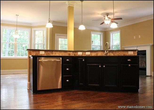 Island Kitchen Open To Breakfast Room Dark Cabinets Kitchen Designs Pinterest Island