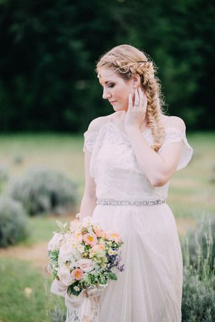 Romantic boho-chic wedding hair and makeup idea - fishtail braid with crystal hair accessory and natural makeup {Endless Exposures Photography}