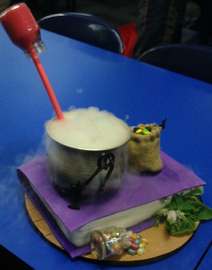 For Cara G, Feb 2017. Spell book, potion cauldron with alchemy ingredients.  Dry ice in cauldron with soda.