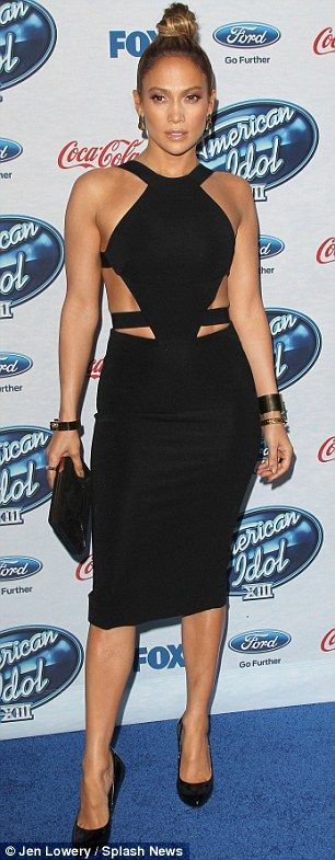 Fit figure: J-Lo had her curves on full display in the sexy black dress