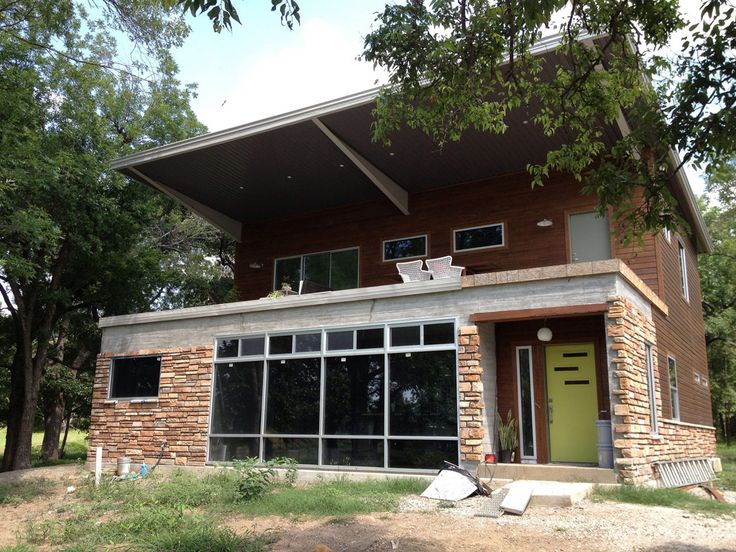 A young family's home made from 5 shipping containers in Sand Springs, Oklahoma. More info. Bright Container House.