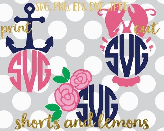 Floral SVG Preppy monogram svg Summer svg Flower lobster
