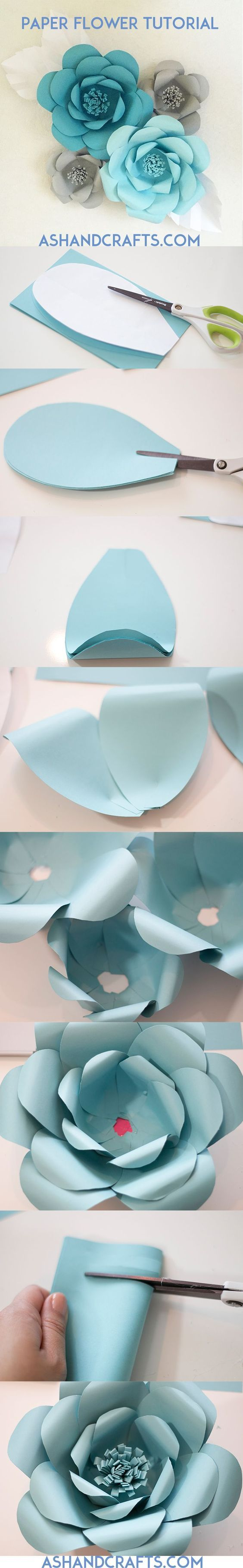 Paper Flower Tutorial with Template - Ashandcrafts.com: