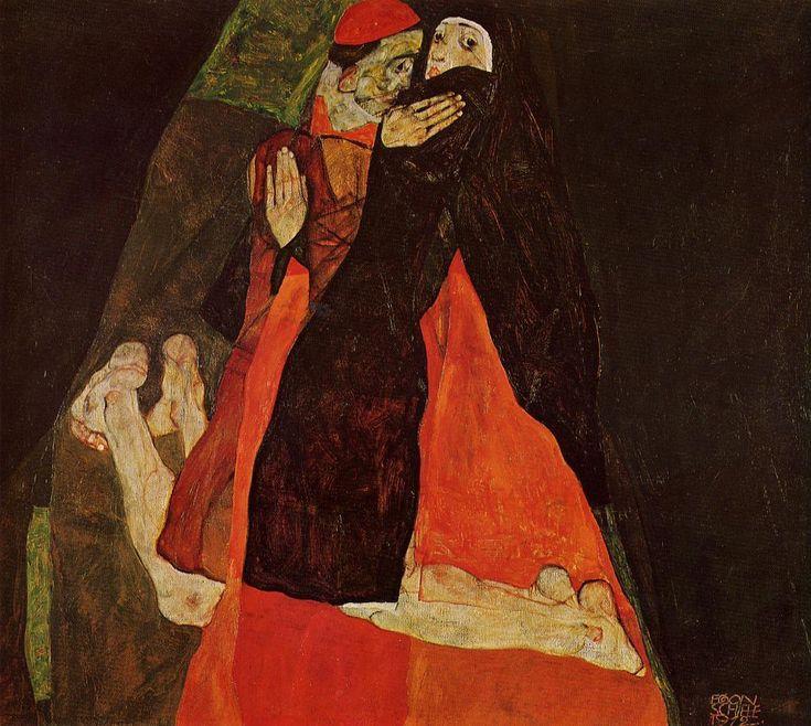 Egon Schiele, Cardinal and Nun (Caress), 1912