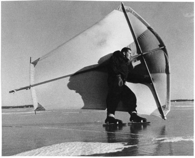 Rufus C. Johnson ice skating with a sail on Lake Minnetonka,1955. Photograph: Minnesota Statehood Centennial Commission. © Minnesota Historical Society. All Rights Reserved.