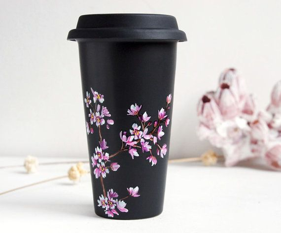 Hand Painted Black Ceramic Eco-Friendly Travel Mug - Cherry Blossoms - Limited Edition - made to order on Etsy, $680.00 HKD