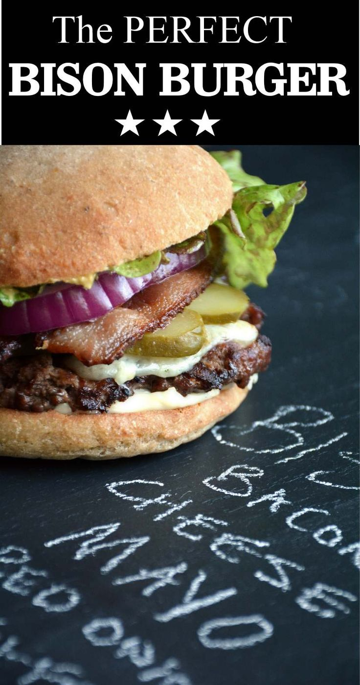 Grilled Bison Burgers: Ground bison is made into patties, grilled, topped with cheese, bacon, lettuce, onions, pickles, on a gluten-free bun.