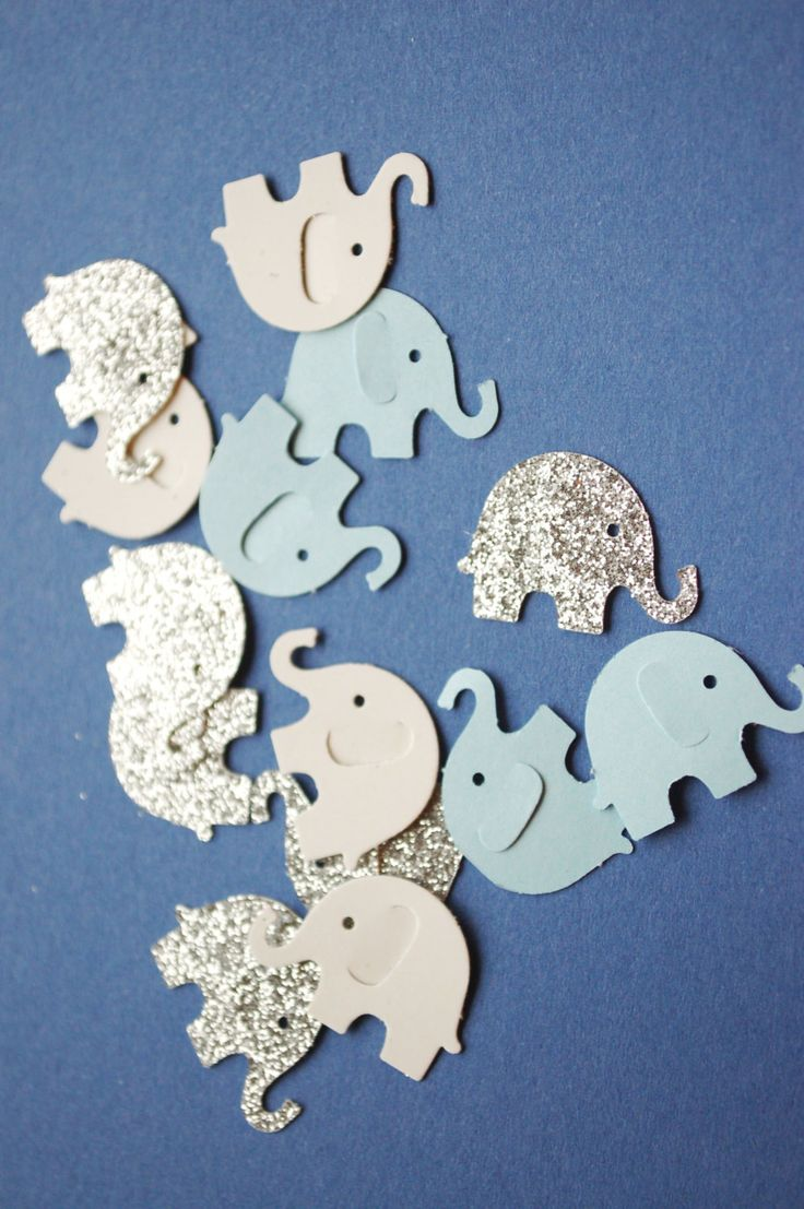 Elephant Confetti Baby Shower Party Decoration Table Decor Blue Glitter Silver Gray White Pink Glitter Gold Baby Boy Girl by fishcouple on Etsy
