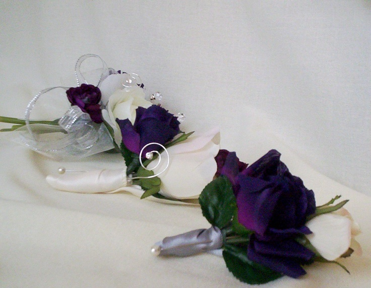Items Similar To Silk Wedding Flowers Purple Corsage Boutonniere Pas 2 Piece Ivory Bridal Party Accessories Grooms Artificial