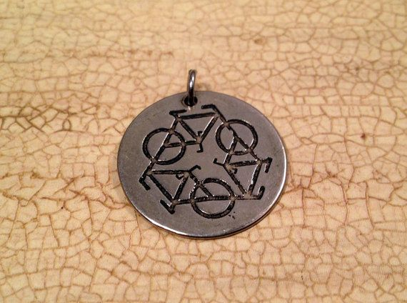 Bike Pendant  Recycle bike pendant by VeloGioielli on Etsy